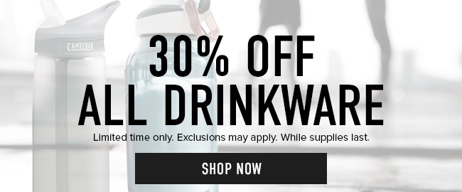 30% off all Drinkware. Limited time only. Exclusions may aply. While supplies last. Click to shop now.